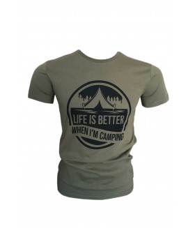 Guntack Life Is Better Erkek Haki T-shirt