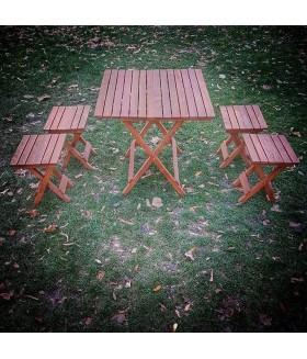 Bushcraft Ahşap Kampçı Masası Tabure Set