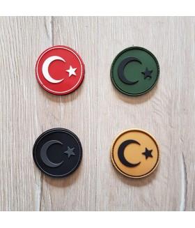Taktikal Türk Bayrağı Yuvarlak Patch - Silikon